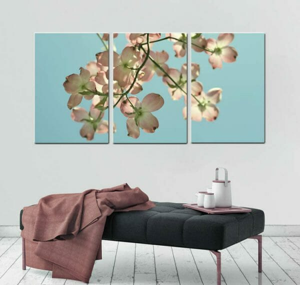 3 Piece Floral Canvas Wall Decor | Extra Large Dogwood Flowers Wall Art