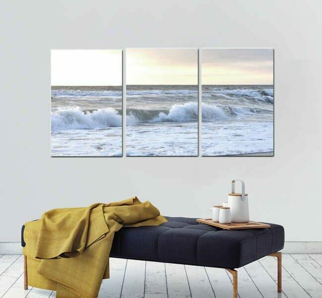Beach Canvas Triptych Wall Art | Split Canvas Art | Ocean Wave Wall Art