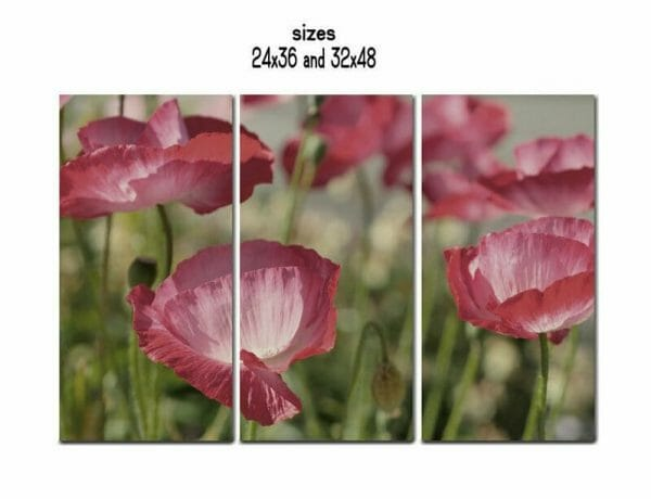 3 Panel Floral Wall Art | Extra Large Floral Canvas Wall Art