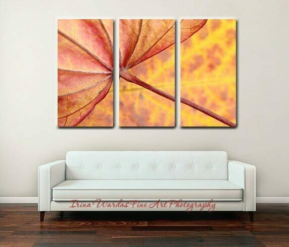 3 Panel Tryptych Leaf Wall Art | Abstract Botanical Wall Art