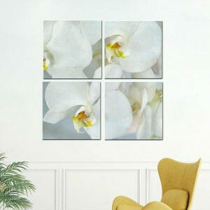 4 Panel White Orchid Wall Art