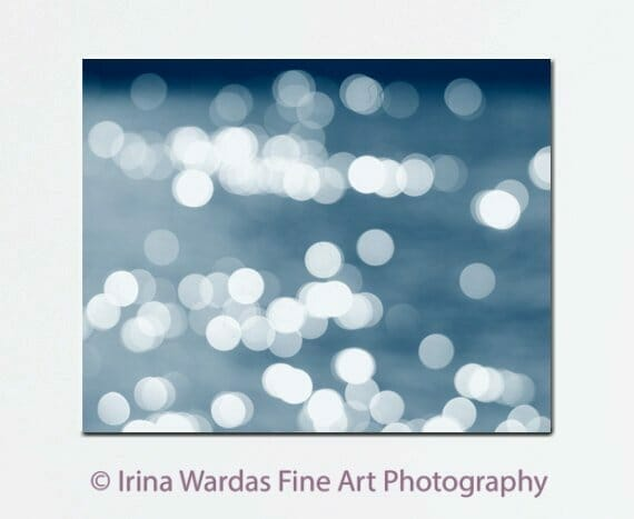 Abstract Canvas Art | White Navy Blue Sparkles Wall Decor