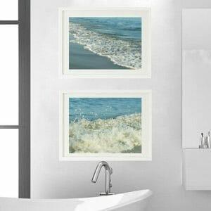 Aqua Teal Ocean Waves Art | Nautical Wall Decor | Seashore Wall Art