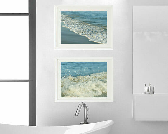 Aqua Teal Ocean Waves Art | Nautical Wall Decor | Seashore Wall Art