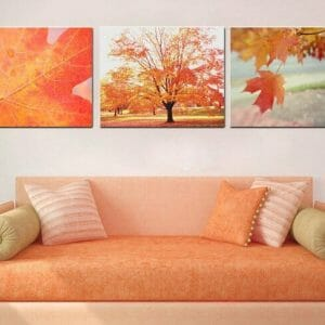 Autumn Canvas Wall Decor | Tree Wall At | Leaf Wall Art | Orange | Red