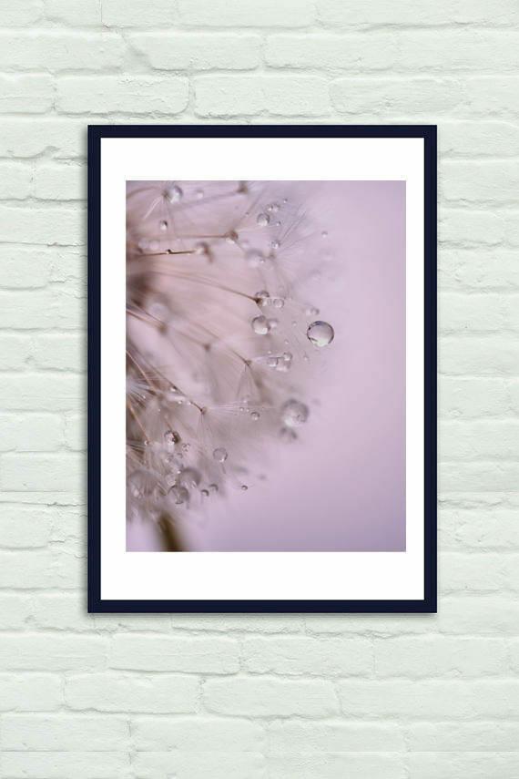 Abstract Dandelion   Bathroom Wall Decor   Blue Grey Pink Wall Art Print