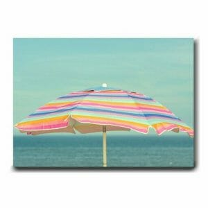 Beach Umbrella Wall Art | Seashore Wall Art | Pink Mint Aqua Teal Wall Decor