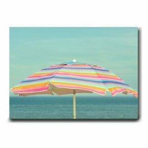 Beach Umbrella Wall Art | Seashore Wall Art | Pink Mint Aqua Teal Wall Decor