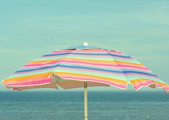 Beach Umbrella Wall Art   Seashore Wall Art   Pink Mint Aqua Teal Wall Decor