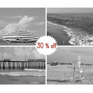 Black and white Beach Cottage Wall Art