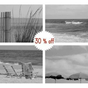 Black and White Beach Wall Art | Coastal Wall Decor | Modern Wall Art