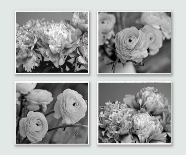 Black and White Flower Wall Art | Grey Floral Home Wall Decor
