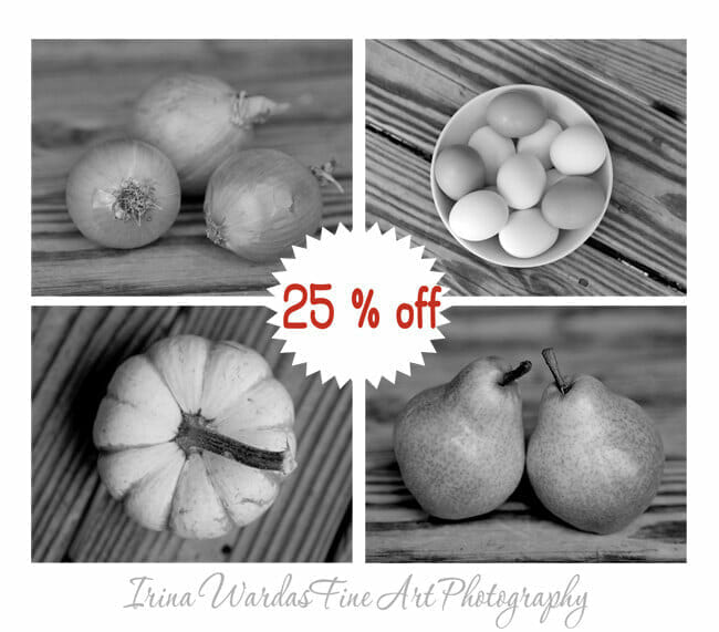 Black And White Fruit And Vegetable Wall Art   4 Piece Set   Rustic Kitchen Wall Art