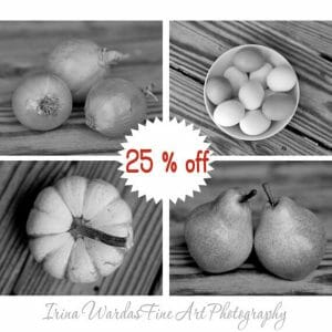 Black And White Fruit And Vegetable Wall Art | 4 Piece Set | Rustic Kitchen Wall Art