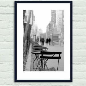 Manhattan Cafe Wall Art | Black and White | NYC Street Scene Wall Art