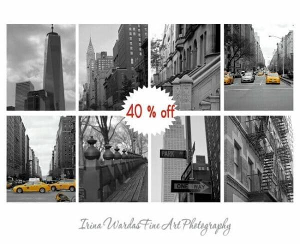 Black and White New York City Wall Art   Set of 8   Manhattan Wall Art