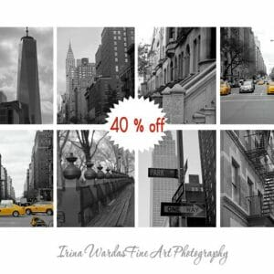 Black and White New York City Wall Art | Set of 8 | Manhattan Wall Art