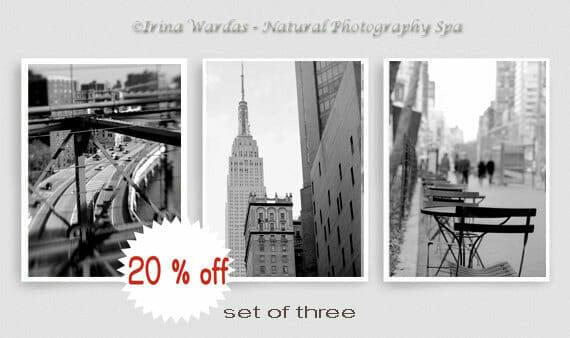 Manhattan Travel Wall Art | NYC Cityscape Wall Decor | Set of 3