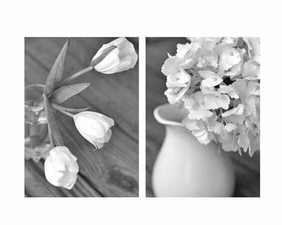 Grey and White Floral Wall Art Set of 2