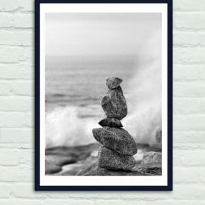 Zen Rocks Wall Decor | Balancing Rocks Wall Art | Beach Spa Wall Art