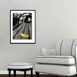 Yellow Leaf Wall Art | Central Park Bench Abstract Wall Decor