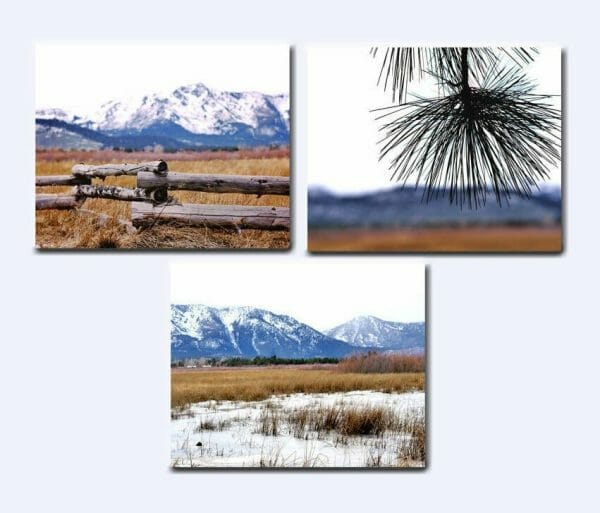 Mountain Wall Art | 3 Piece Set | Winter Nature Art Decor | Heavenly Valley