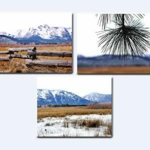 Mountain Wall Art | 3 Piece Set | Winter Nature Art Decor | Heavenly Valley