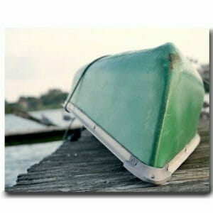 Boat Wall Art | Nautical Canvas | Coastal Green Lake Decor
