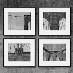 Black and White Brooklyn Bridge Wall Art Set of 4