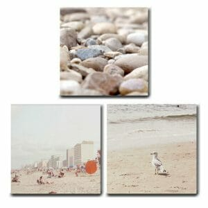 Canvas Beach Wall Art Set of 3 | Neutral Beige Cream Pastel Wall Decor