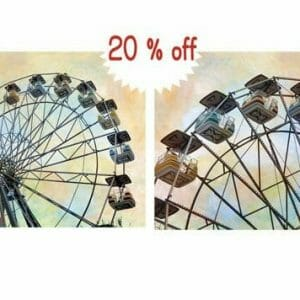 Carnival Ferris Wheel Wall Art Set | Yellow Blue Peach Nursery Wall Decor