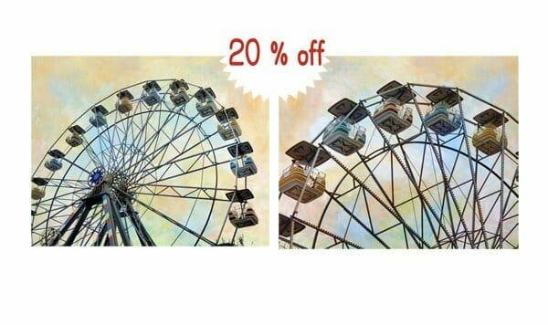 Carnival Ferris Wheel Wall Art Set | Yellow Blue Peach Nursery Wall Decor