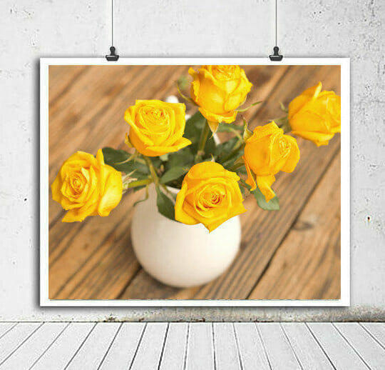 Yellow Roses Wall Art | Country Chic Floral Wall Art | Shabby Chic Decor