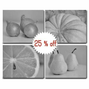 Fruit & Vegetable Wall Decor | Gray Kitchen Wall Art | Food Wall Art