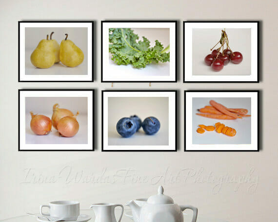Fruit And Vegetables Wall Art | 6 Piece Set | Dining Room Food Wall Art