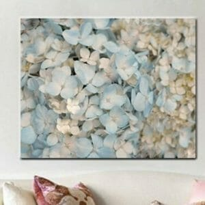 Pale Blue Hydrangea Wall Art | Floral Wall Art Decor | Large Cottage Wall Art