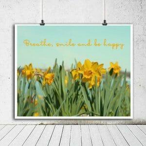 Mint Green Yellow Daffodil Wall Art