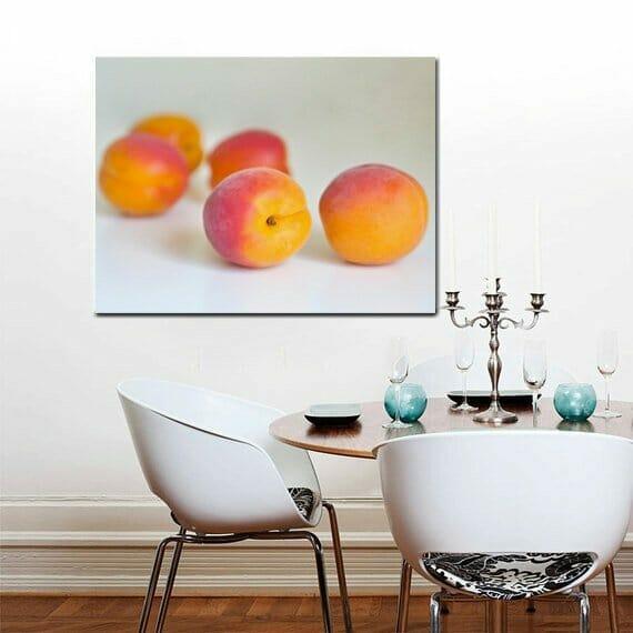 Apricot Fruit Wall Art | Canvas Wall Decor | Large Kitchen Wall Art