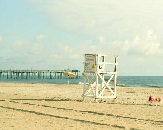 Lifeguard Stand Wall Art | Teal Beige Aqua Wall Art | Virginia Beach Wall Decor