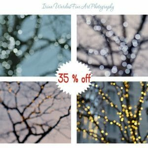 Lighted Tree Branch Wall Art | Set of 4 | Light Sparkles Wall Decor