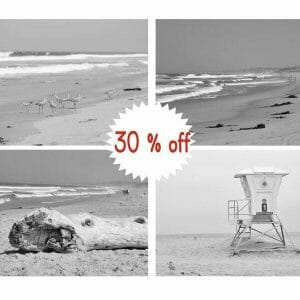 Black and White Beach Wall Art Decor Set