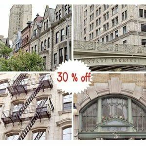 Manhattan Building Wall Art | Set of 4 | NYC Architecture Wall Art