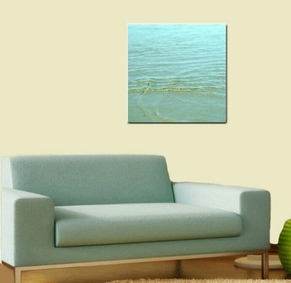 Ocean Canvas Wall Art | Aqua Mint Water Ripples | Nautical Home Decor
