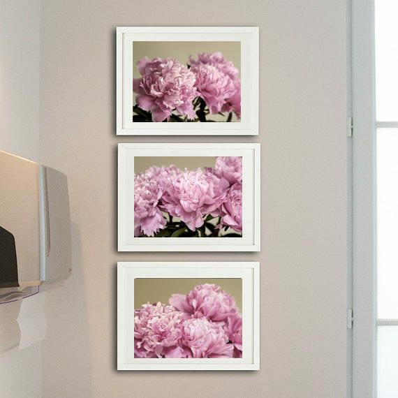 3 Piece Peony Wall Art   Shabby Chic Wall Art   Pink Flower Wall Art Decor