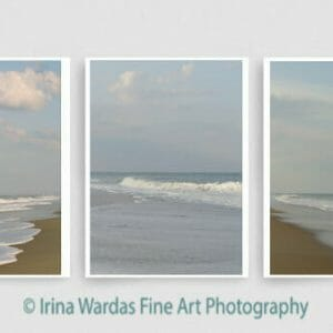 Beach and Ocean Wave Wall Art Set of 3 Prints