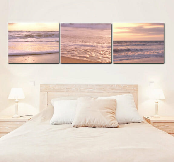 Beach Sunset Wall Art | Yellow Peach Pink | Nautical Canvas Wall Decor