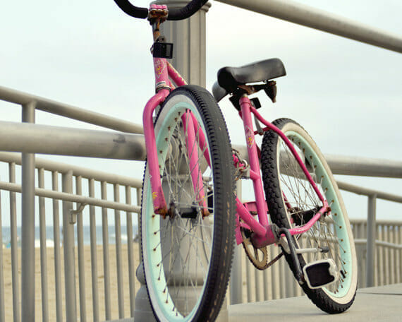 Beach Bike Wall Art | Pink Shabby Wall Art | Girls Room Dorm Decor