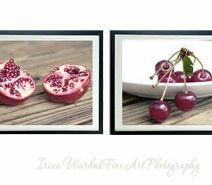 Rustic Kitchen Decor | Pomegranate | Cherries | Fruit Wall Art