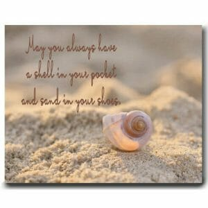 Motivational Wall Decor | Seashell And Quote | Beach Canvas Wall Art