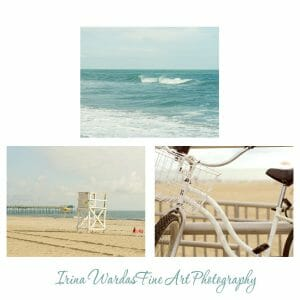 Seashore Wall Art | Life Guard Tower | Beach Bike Beach Sand | Set of 3